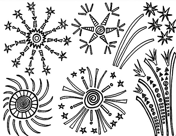 Independence Day, : Fireworks in the Sky on Independence Day Coloring Page