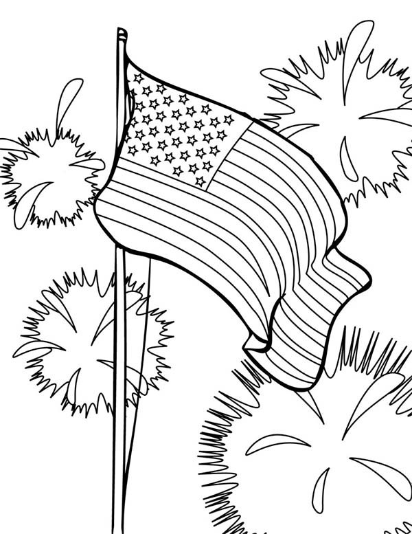 Independence Day, : Flag and Fireworks Independence Day Coloring Page 2