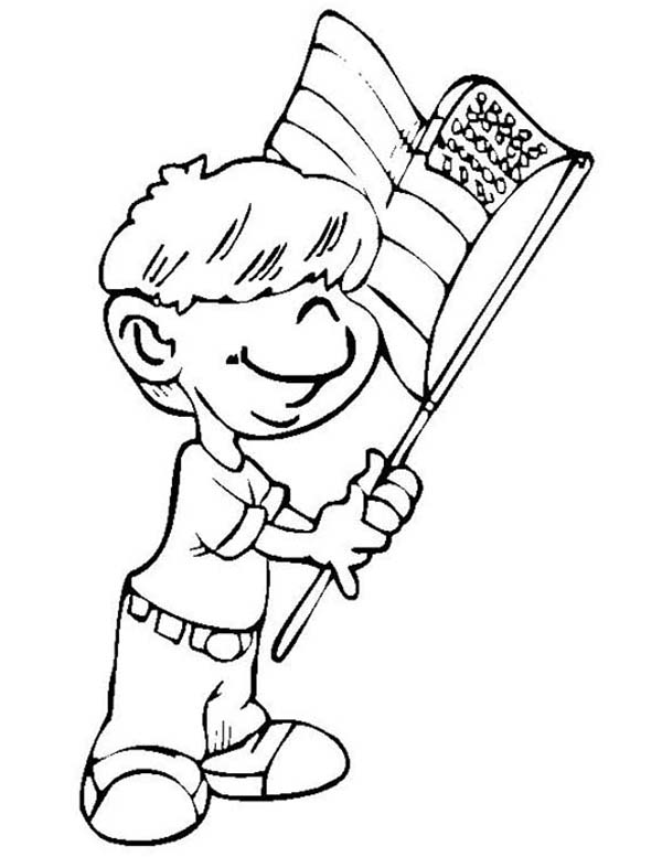 Independence Day, : Kid Waving Flag on Independence Day Coloring Page