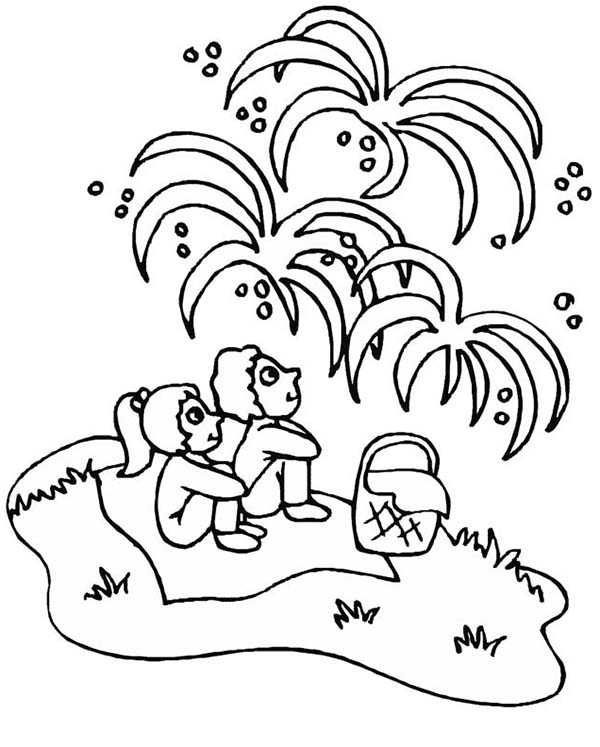 Independence Day, : Kids Watching Fireworks on Independence Day Coloring Page