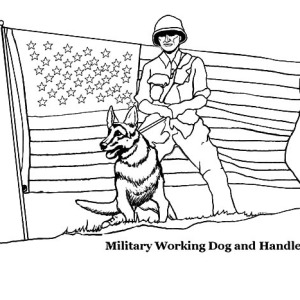 military working dog and handler on independence day coloring pages