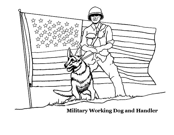 Independence Day, : Military Working Dog and Handler on Independence Day Coloring Pages