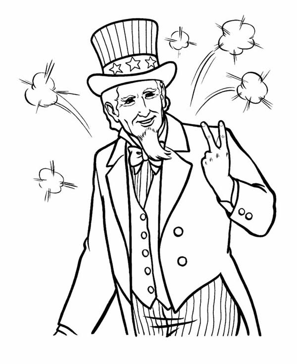 Independence Day, : Picture of Uncle Sam on Independence Day Coloring Page