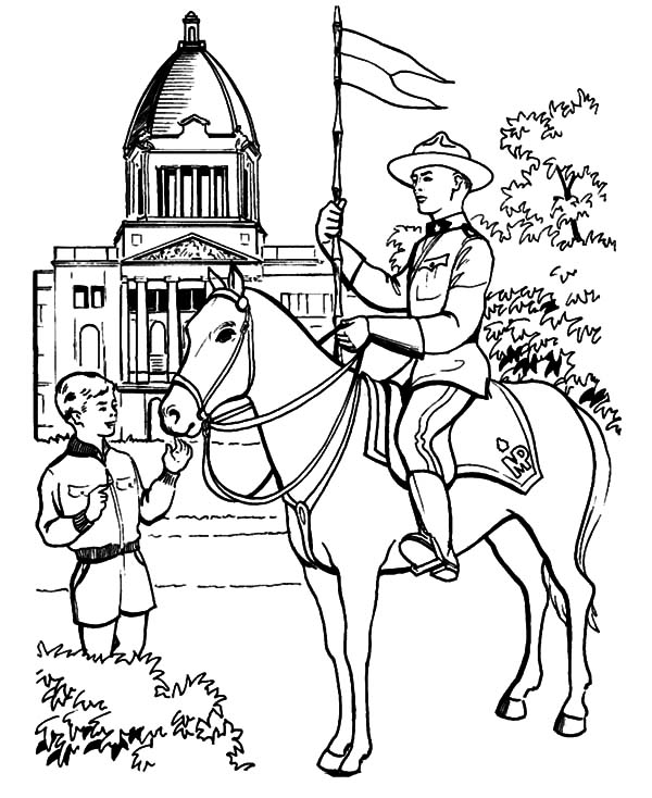 National Canada Day, : Riding a Horse on National Canada Day Coloring Pages