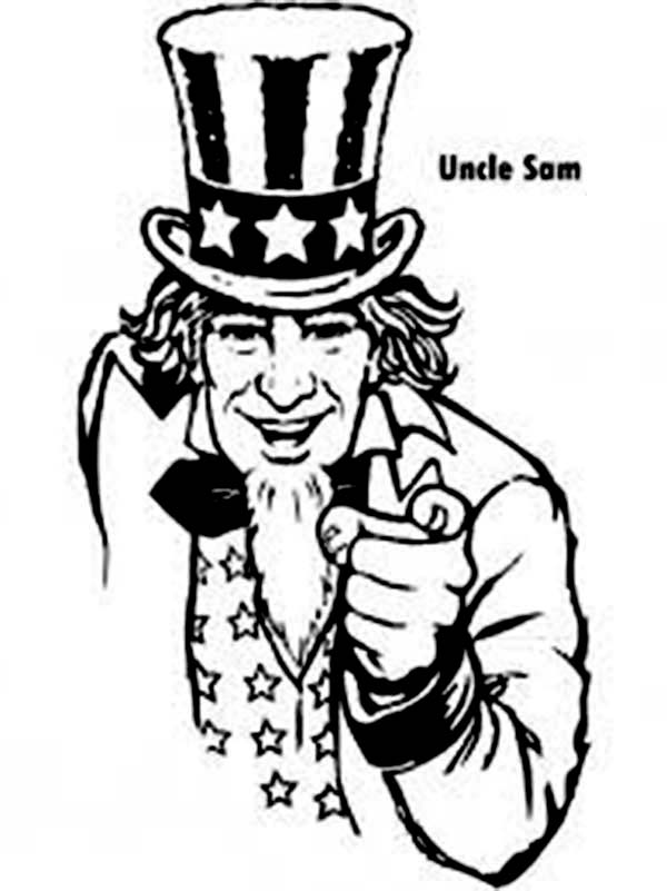 Independence Day, : Uncle Sam and Independence Day Coloring Page