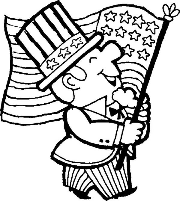Independence Day, : Waving American Flag on Independence Day Coloring Page