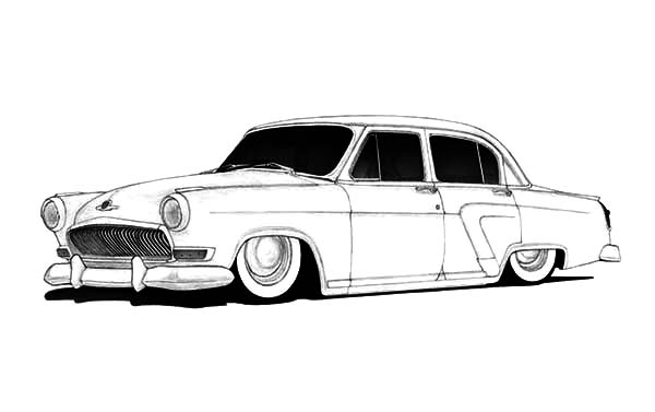 Hot Rod Cars, : 1958 Gaz Volga Custom Sedan Hot Rod Cars Coloring Pages