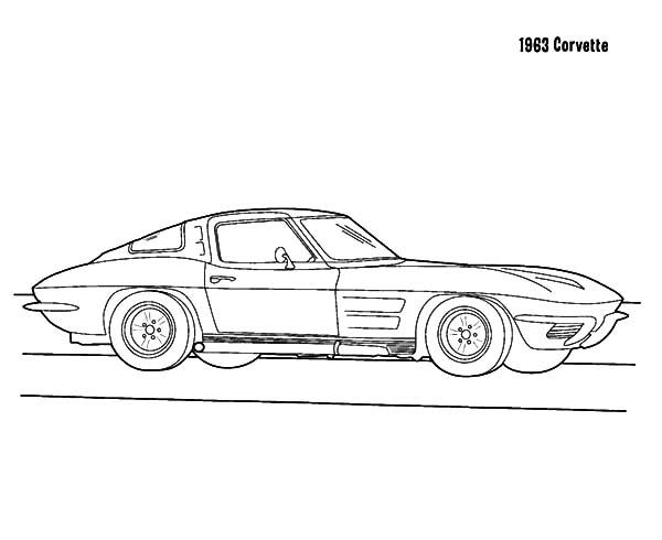 Corvette Cars, : 1963 Corvette Cars Coloring Pages