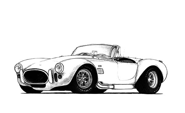 Hot Rod Cars, : 1966 Shelby Cobra 427 Hot Rod Cars Coloring Pages