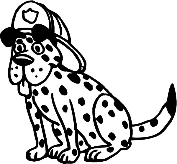 Fire Dog, : A Dalmatian Fire Dog Sitting and Wearing a Firemens Helmet Coloring Pages