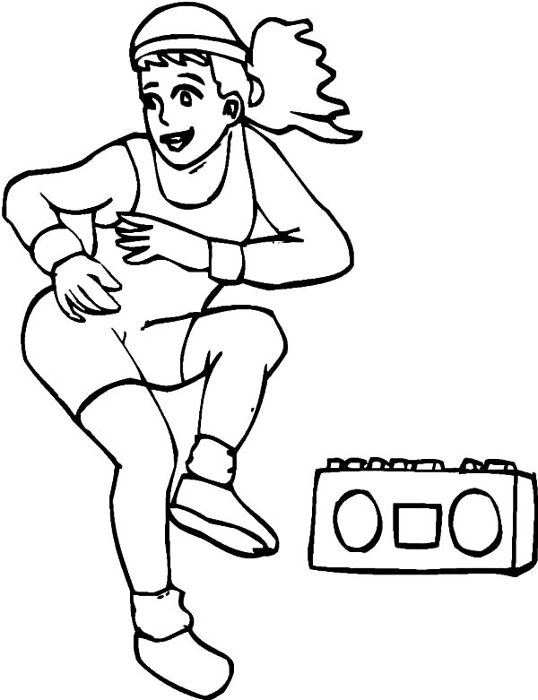Exercise, : Aerobic Exercise Coloring Pages