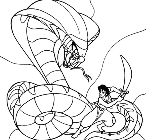King Cobra, : Aladdin Fight Against King Cobra Coloring Pages
