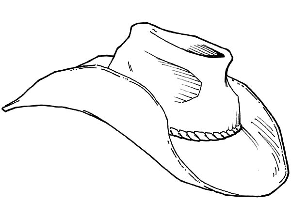 Cowboy Hat, : An Old Cowboy Hat Coloring Pages