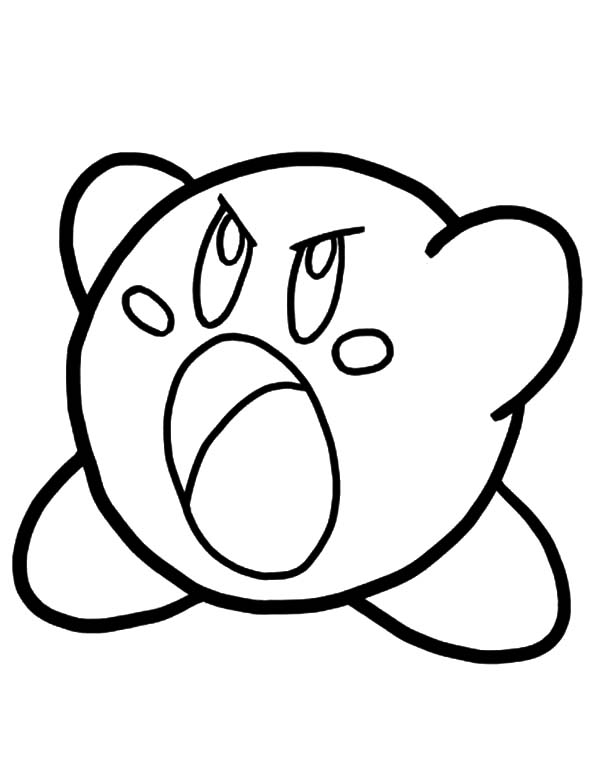 Kirby, : Angry Kirby Coloring Pages