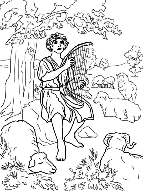 David The Shepherd Boy, : Bible for Children David the Shepherd Boy Coloring Pages