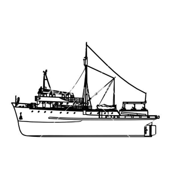 Fishing Boat, : Big Company Fishing Boat Coloring Pages