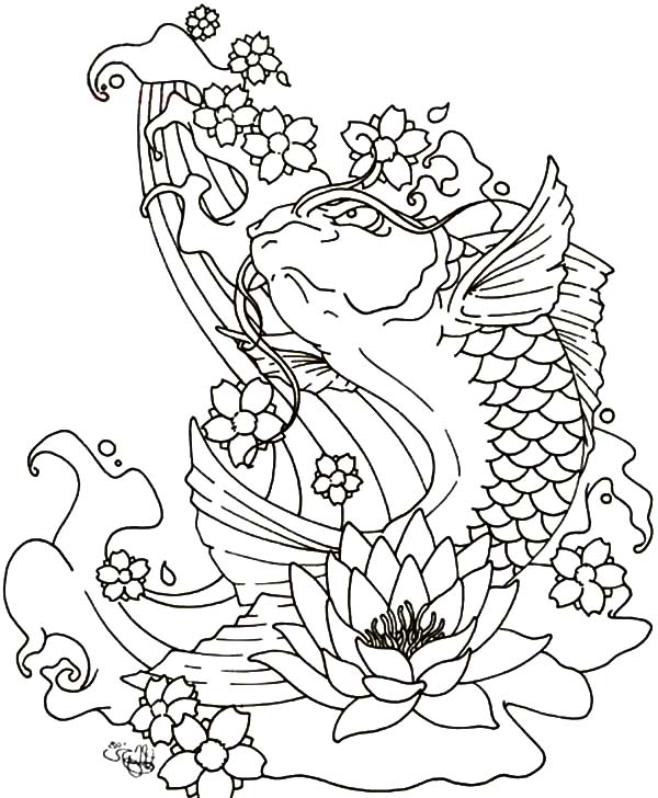 Coy Fish, : Blooming Lotus and Coy Fish Coloring Pages