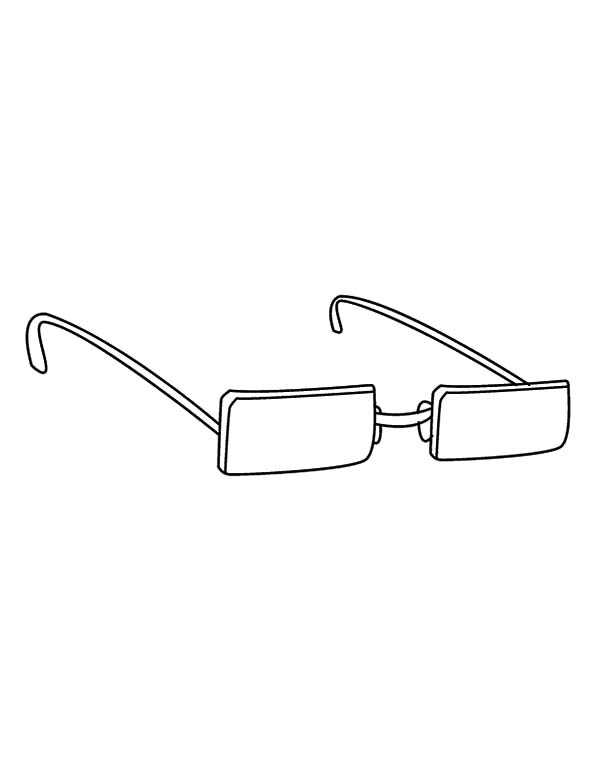 Eyeglasses, : Box Shaped Eyeglasses Coloring Pages