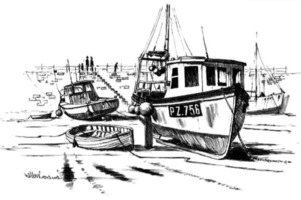 Fishing Boat, : Broken Fishing Boat at Dock Coloring Pages