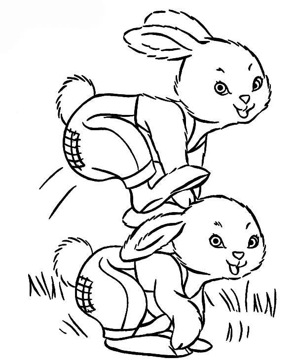Hopping Bunny, : Bunny Hopping on His Buddys Back Coloring Pages