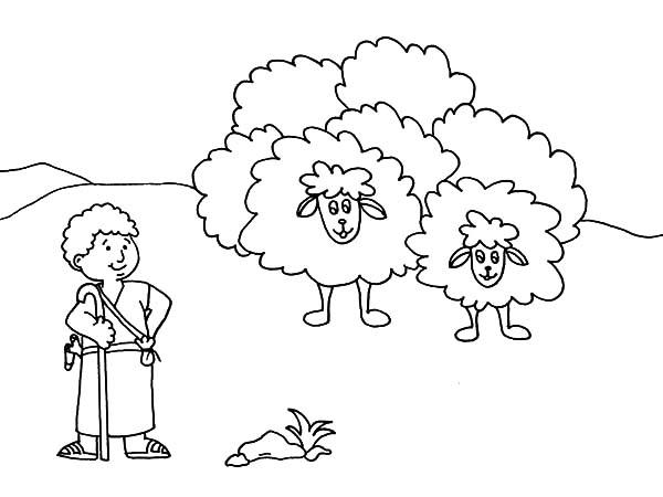David The Shepherd Boy, : Cartoon David the Shepherd Boy Coloring Pages