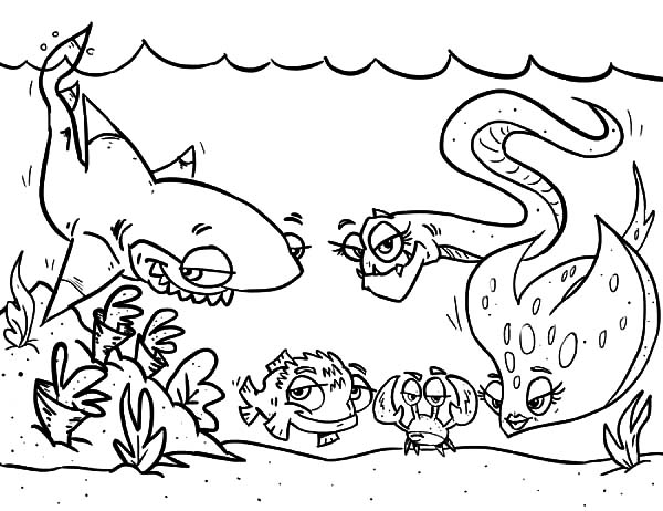 cartoon of coral reef fish coloring pages