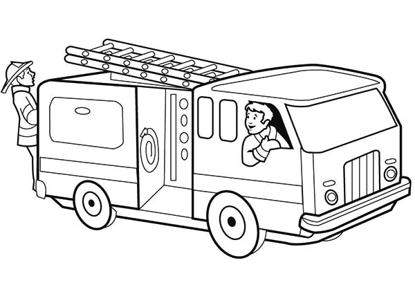 Fire Engine, : Checking Fire Engine Coloring Pages
