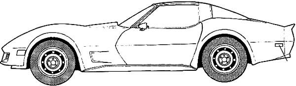 Corvette Cars, : Chevrolet Cars Corvette 1982 Coloring Pages