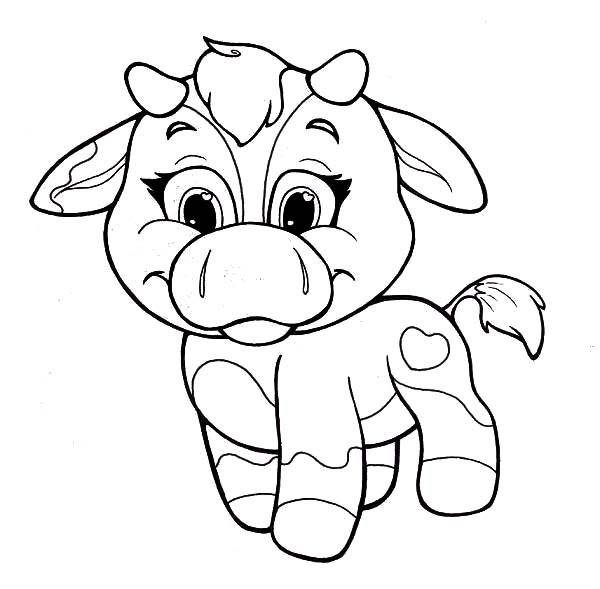 Cows, : Chibi Baby Cows Coloring Pages