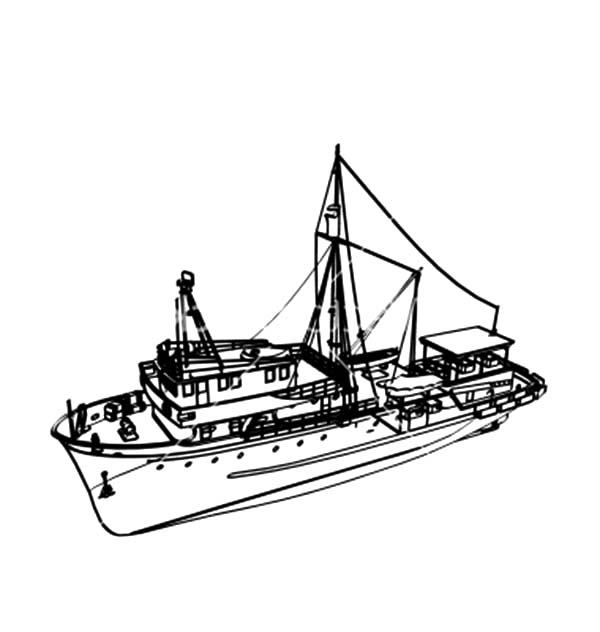 Fishing Boat, : Commercial Fishing Boat Coloring Pages