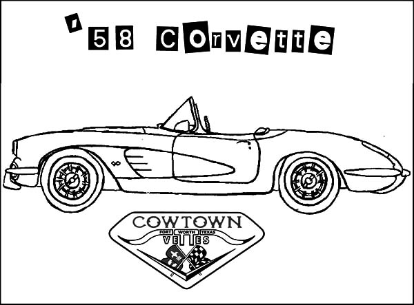 Corvette Cars, : Corvette Cars Cow Town 58 Coloring Pages