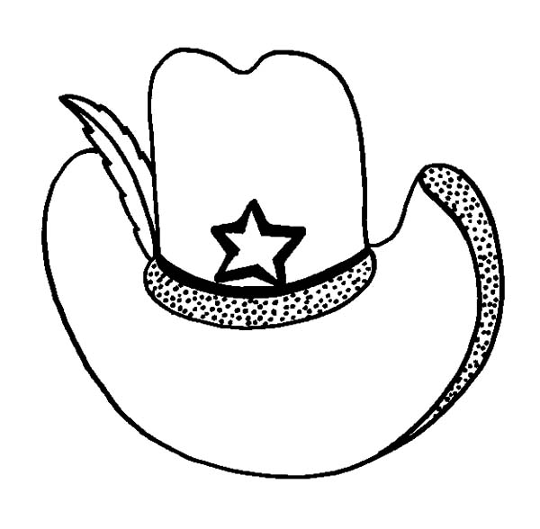 Cowboy Hat, : Cowboy Hat Decorated with Feather Coloring Pages