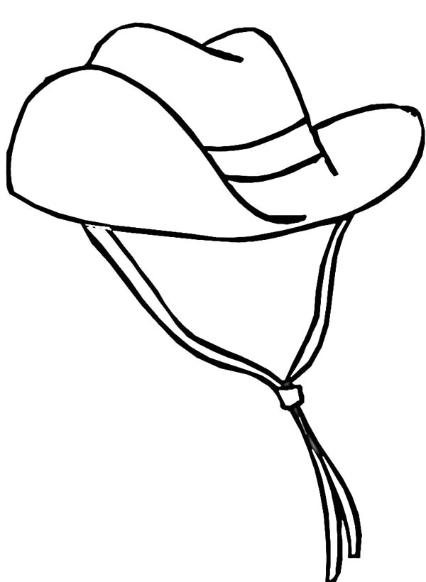 Cowboy Hat, : Cowboy Hat Decorated with Wind Strings Coloring Pages