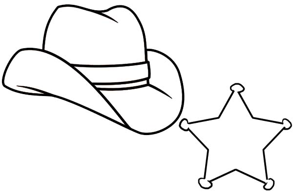 Cowboy Hat, : Cowboy Hat and Sherrif Badge Coloring Pages