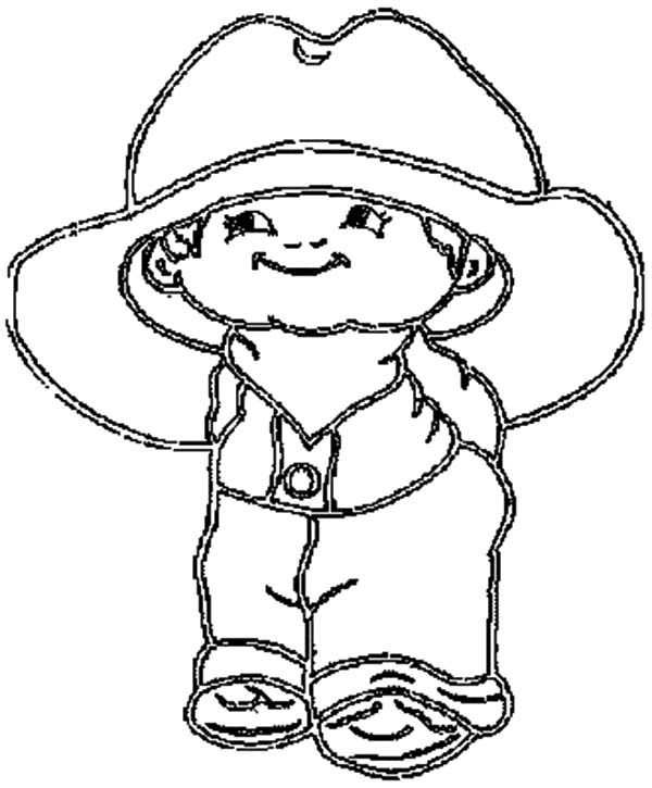 Cowboy Hat, : Cowboy Hat is Too Big for the Kid Coloring Pages