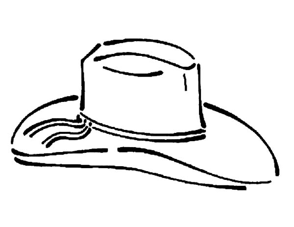 Cowboy Hat, : Cowboy Hat with Decorative Hat Band Coloring Pages