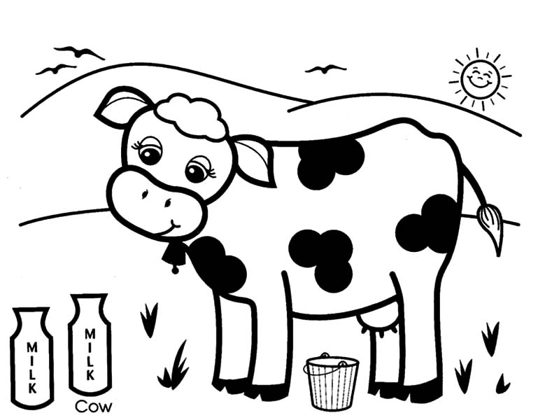 Cows, : Cows Produce Healthy Milk Coloring Pages