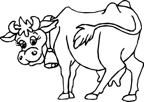 Cows, : Cows Wearing Bell Coloring Pages