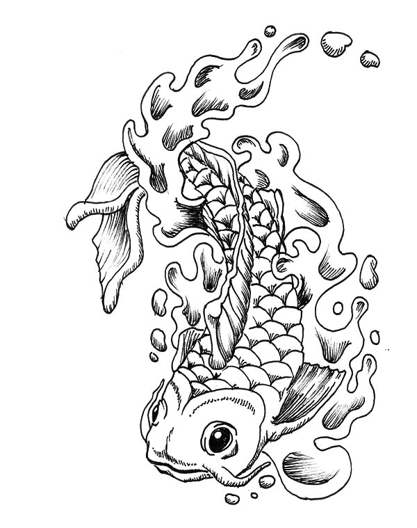 Coy Fish, : Coy Fish Awesome Tatto Design Coloring Pages