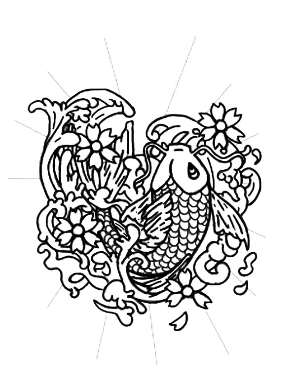 Coy Fish, : Coy Fish Tattoo Design Coloring Pages