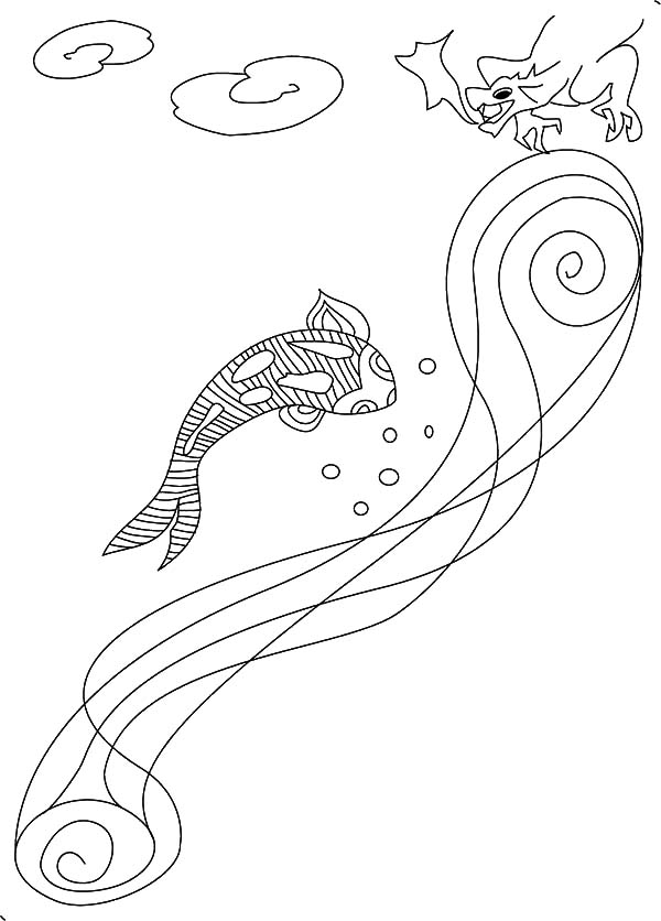 Coy Fish, : Coy Fish and Dragon Coloring Pages