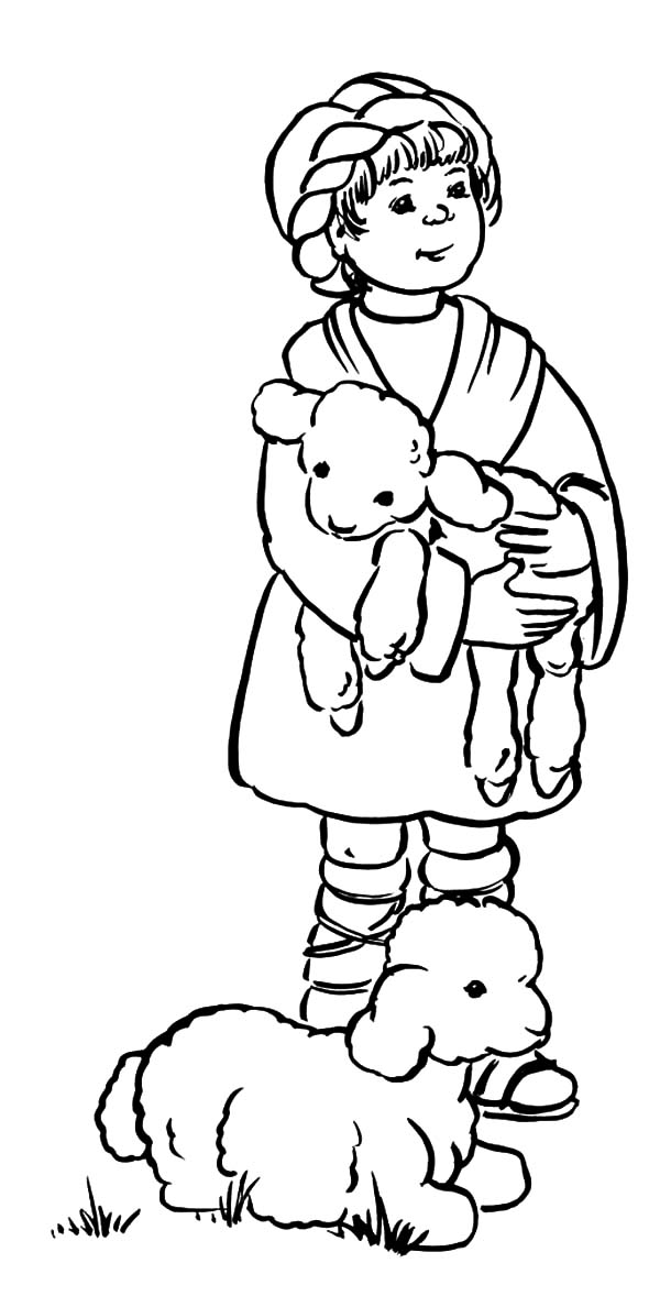 David The Shepherd Boy, : David the Shepherd Boy Hold His Sheep Coloring Pages