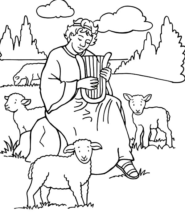 David The Shepherd Boy, : David the Shepherd Boy Play Harp Coloring Pages