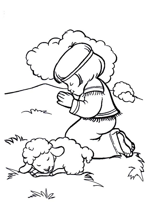 David The Shepherd Boy, : David the Shepherd Boy Pray in the Meadow Coloring Pages
