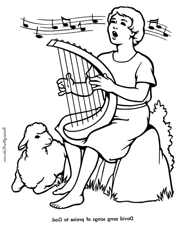 David The Shepherd Boy, : David the Shepherd Boy Sing a Song Praise to God Coloring Pages