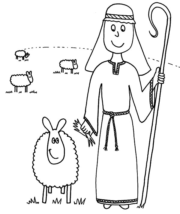 David The Shepherd Boy, : David the Shepherd Boy Taking His Sheeps to the Meadow Coloring Pages