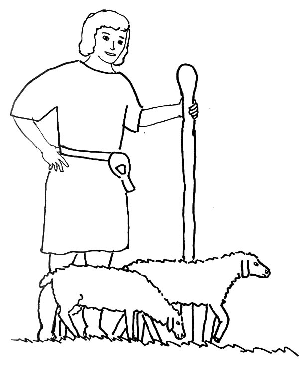 David The Shepherd Boy, : David the Shepherd Boy Walk with Sheeps Coloring Pages
