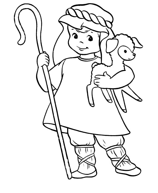 David The Shepherd Boy, : David the Shepherd Cute Boy Coloring Pages