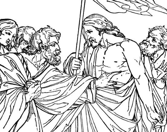 Doubting Thomas, : Depiction of Jesus Christ and Doubting Thomas Coloring Pages