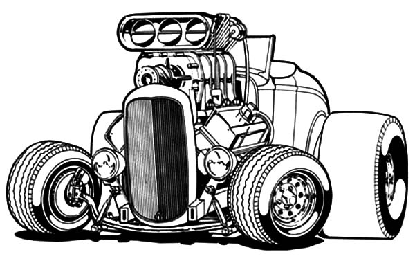 Hot Rod Cars, : Deuce Hot Rod Big Cars Coloring Pages